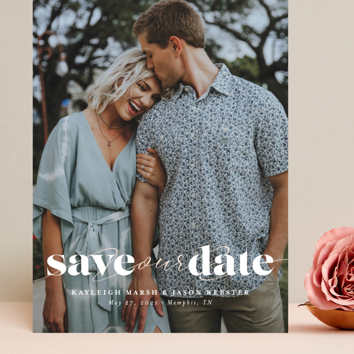 """Swoon"" - Minimalist, Simple Grand Save The Date Cards in Vanilla by Lea Delaveris."