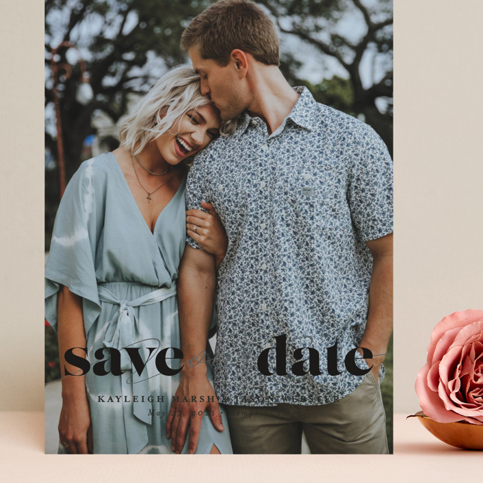 """""""Swoon"""" - Minimalist, Simple Grand Save The Date Cards in Vanilla by Lea Delaveris."""