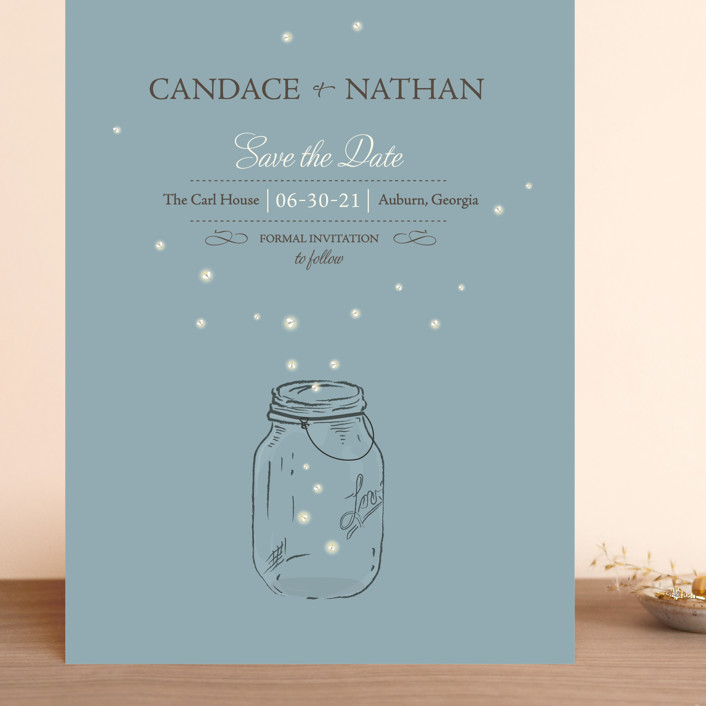 """Fireflies"" - Rustic Grand Save The Date Cards in Cornflower by Paige Rothhaar."