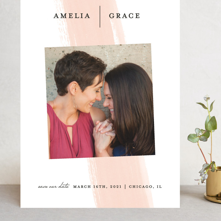"""Single Swath"" - Grand Save The Date Cards in Blush by Angela Marzuki."