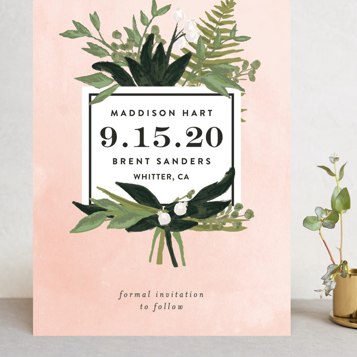"""""""Botanical Name Plate"""" - Grand Save The Date Cards in Blush by Shiny Penny Studio."""