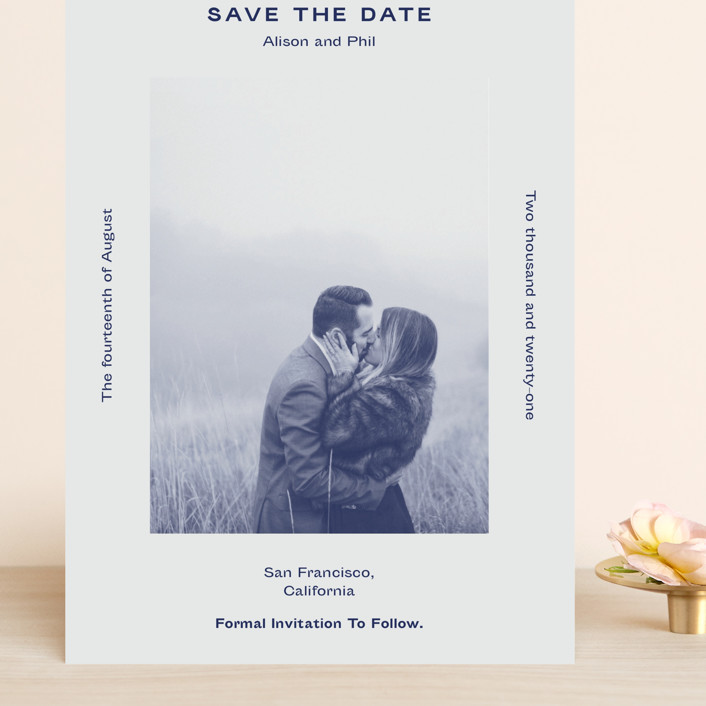 """""""Flyer"""" - Grand Save The Date Cards in Navy by Jack Knoebber."""