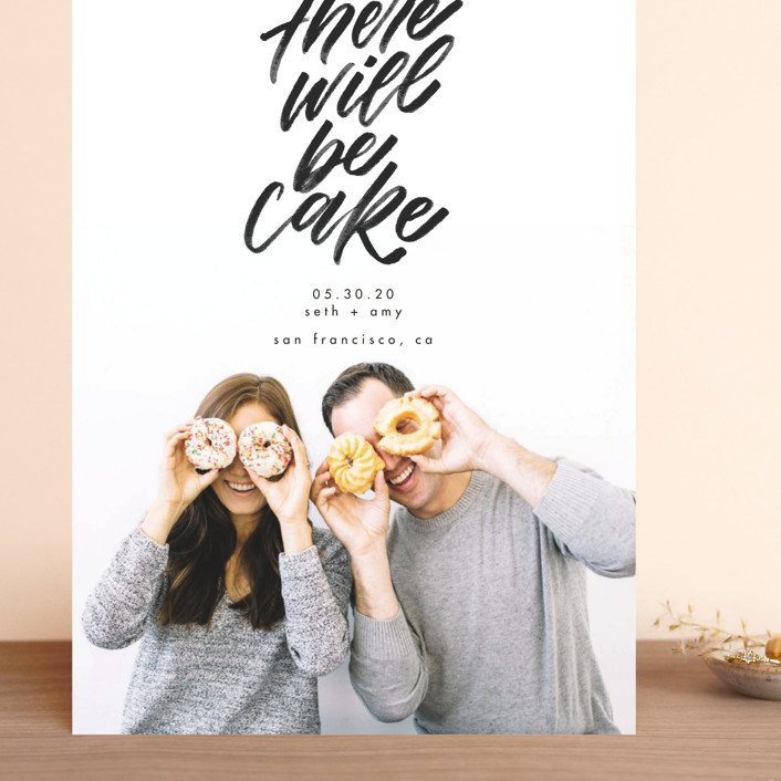 """""""There Will Be Cake"""" - Grand Save The Date Cards in Charcoal by Erin L. Wilson."""