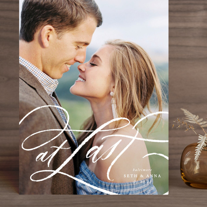 """A Whisper"" - Modern Grand Save The Date Cards in Pearl by Erin L. Wilson."