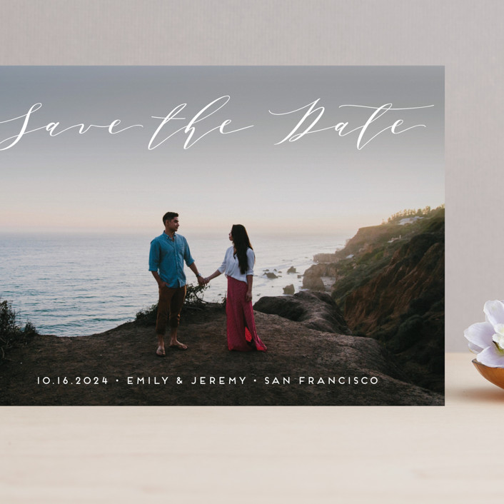 """""""Modern Elegance"""" - Grand Save The Date Cards in Snow by Alexandra Dzh."""