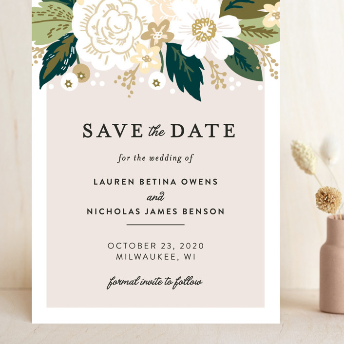 """""""Classic Floral"""" - Grand Save The Date Cards in Cream by Alethea and Ruth."""