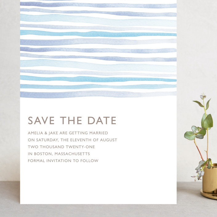 """""""Horizon"""" - Grand Save The Date Cards in Light Cornflower by Dean Street."""