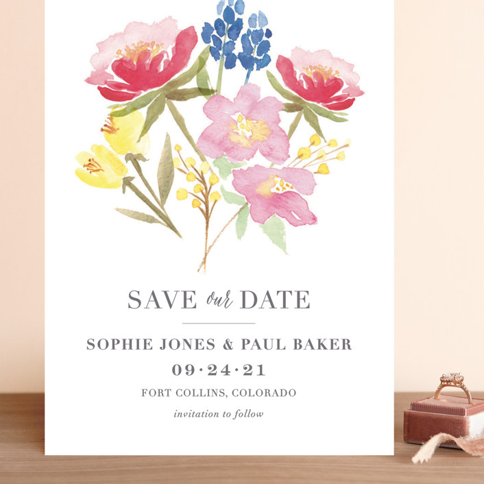 """""""Floral Bouquet"""" - Grand Save The Date Cards in Petal by Laura Bolter Design."""