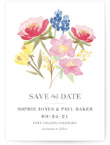 This is a pink save the date by Laura Bolter Design called Floral Bouquet with standard printing on signature in grand.