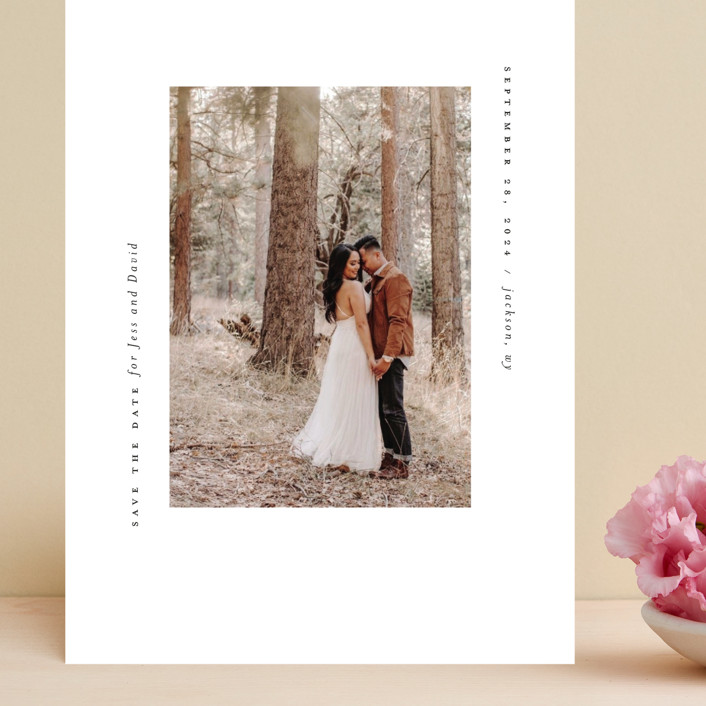 """""""True Minimalist"""" - Grand Save The Date Cards in Moon by Heather Cairl."""