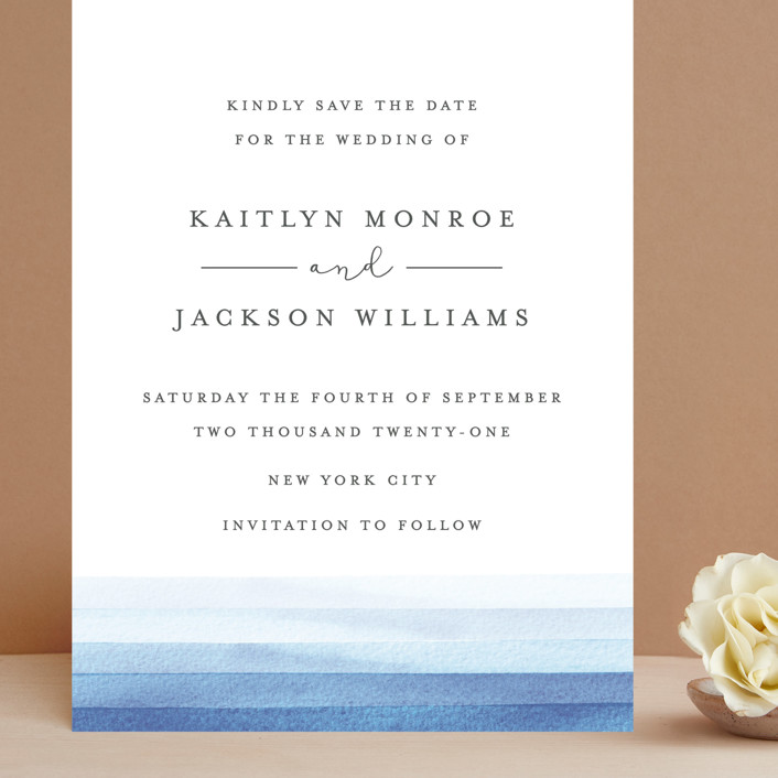"""Watercolour Stripe"" - Grand Save The Date Cards in Ocean by Bethan."