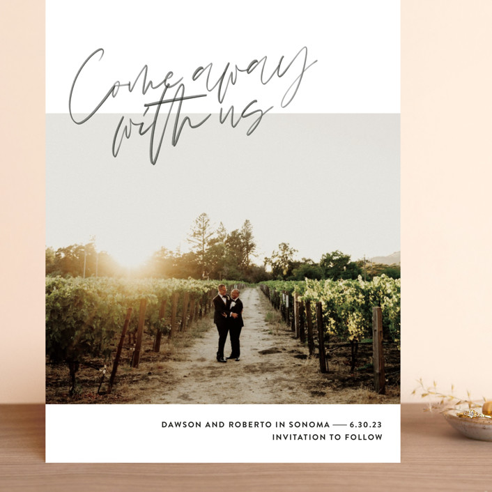 """Come Away"" - Grand Save The Date Cards in Cloud by Jody Wody."