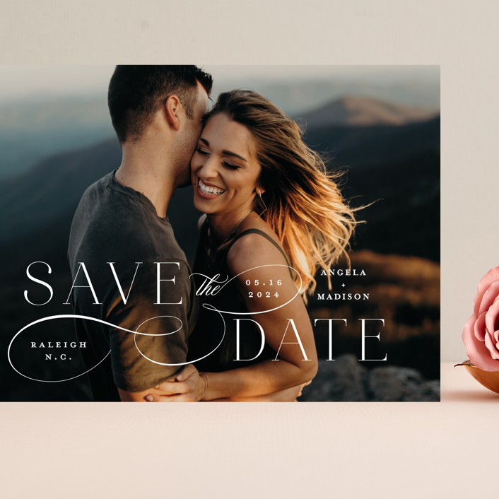 """Flourish"" - Grand Save The Date Cards in Vanilla by Ashley Rosenbaum."