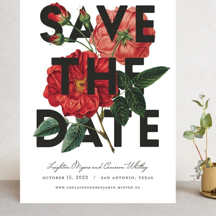 """""""Daring Date"""" - Grand Save The Date Cards in Crimson by Fig and Cotton."""