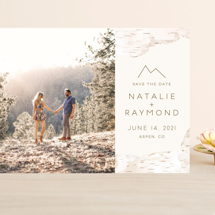 """""""Birchbark"""" - Grand Save The Date Cards in Natural by Kelsey Mucci."""