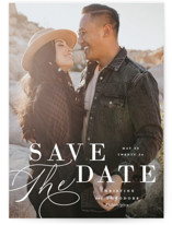 This is a white save the date by Ashley Rosenbaum called Composition with standard printing on signature in grand.