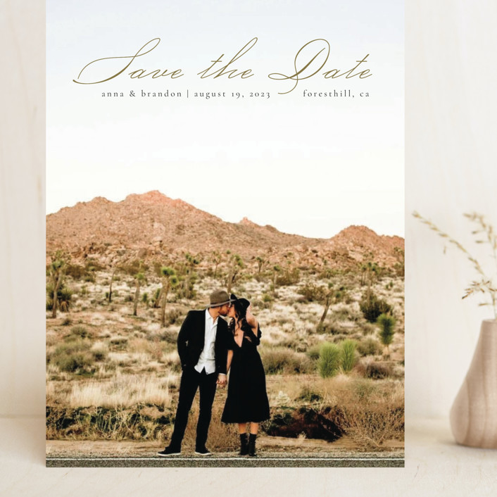 """""""Heavenly"""" - Grand Save The Date Cards in Moss by Kann Orasie."""