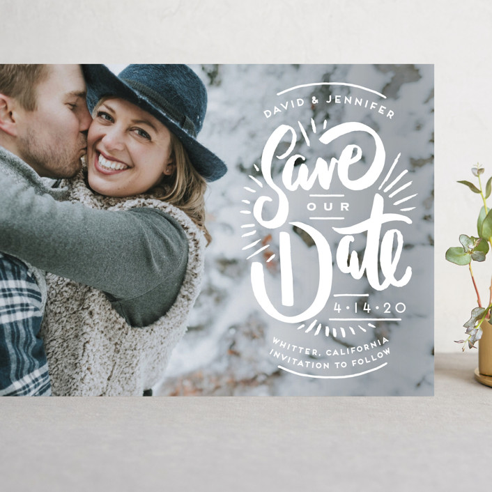 """""""Marker Letters"""" - Hand Drawn Grand Save The Date Cards in Pearl by Shiny Penny Studio."""