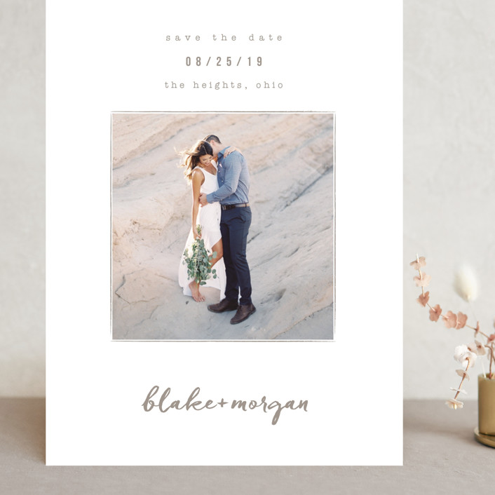"""""""Understated"""" - Grand Save The Date Cards in Warm Gray by Robin Ott."""