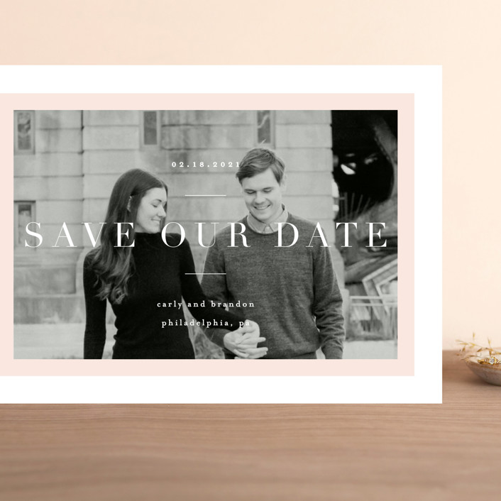 """""""Modernist Minimal"""" - Grand Save The Date Cards in Blush by Everett Paper Goods."""