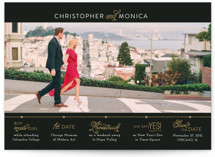 This is a black save the date by Jessie Steury called Our Timeline with standard printing on smooth signature in grand.