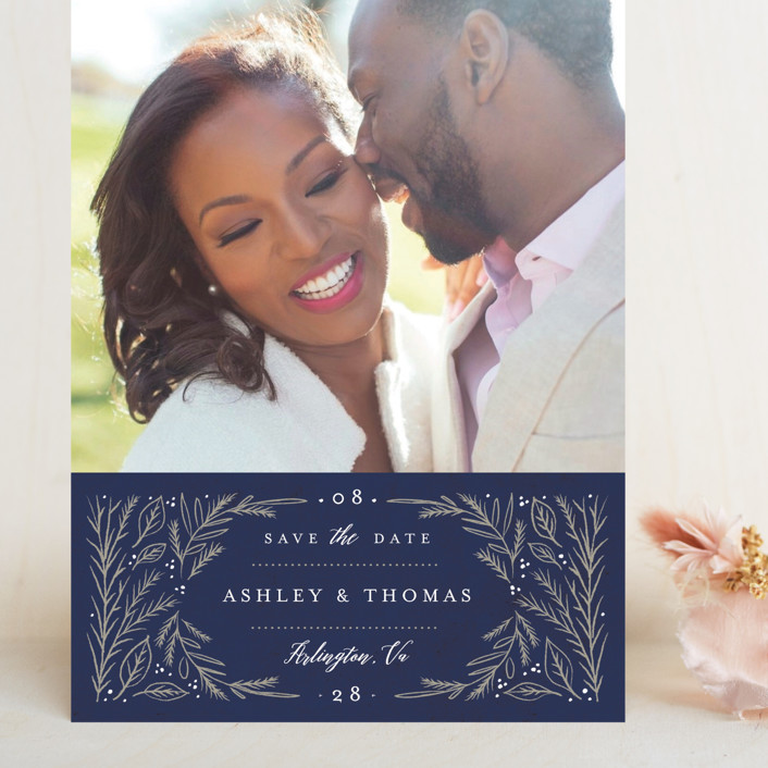 """""""Embellished Details"""" - Grand Save The Date Cards in Atlantic by Karidy Walker."""