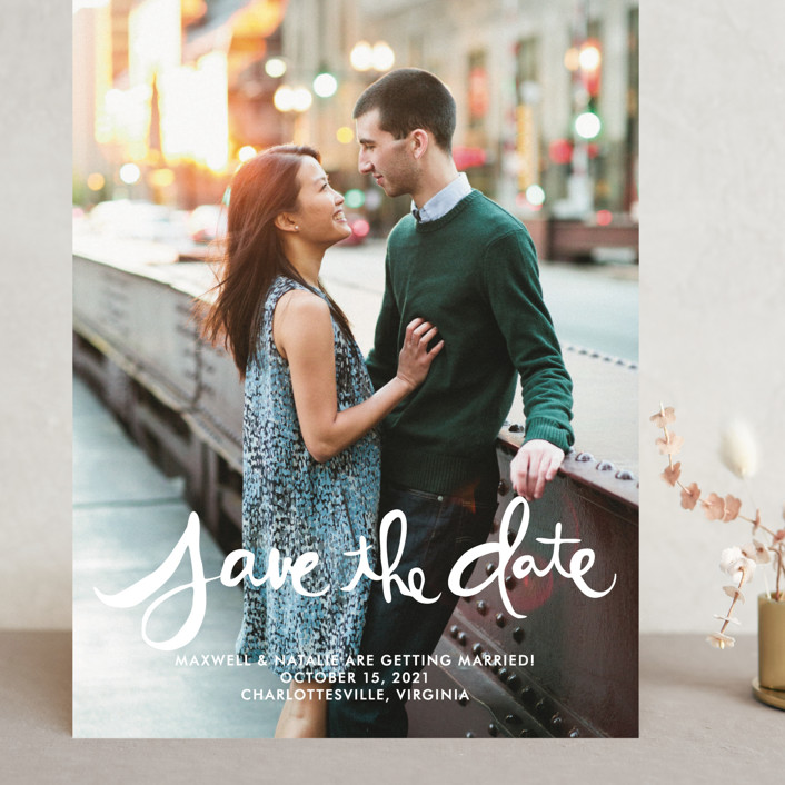 """""""Hand-Lettered"""" - Bohemian Grand Save The Date Cards in Lily by Dean Street."""