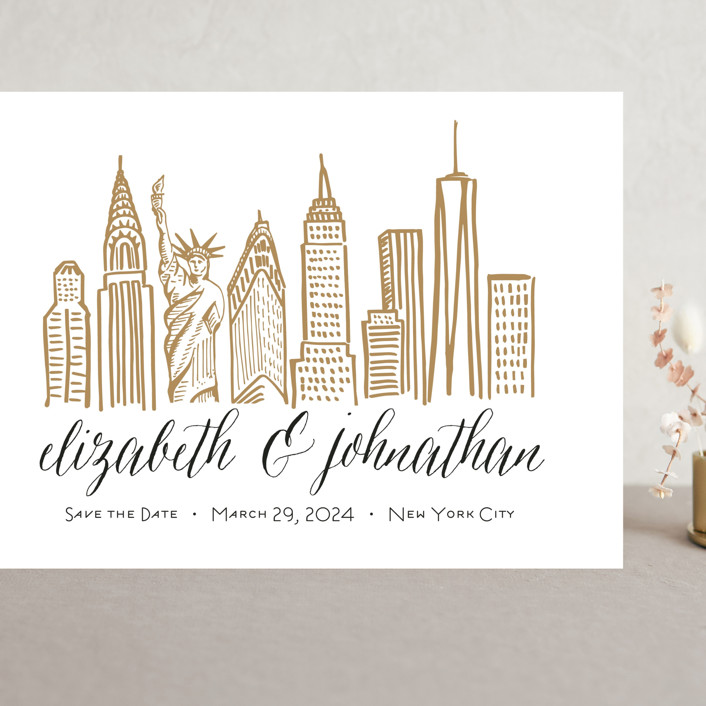 """Skyline - New York City"" - Grand Save The Date Cards in Gold Coast by Abby Munn."