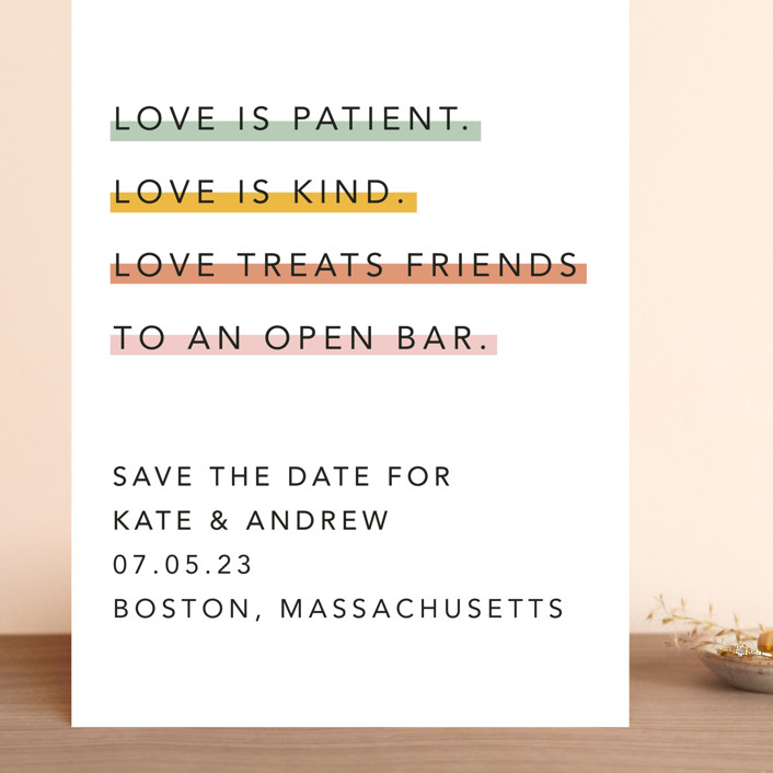 """""""Love is..."""" - Grand Save The Date Cards in Sobert by Hudson Meet Rose."""