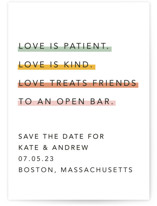 This is a yellow save the date by Caitlin Considine called Love is... with standard printing on signature in grand.
