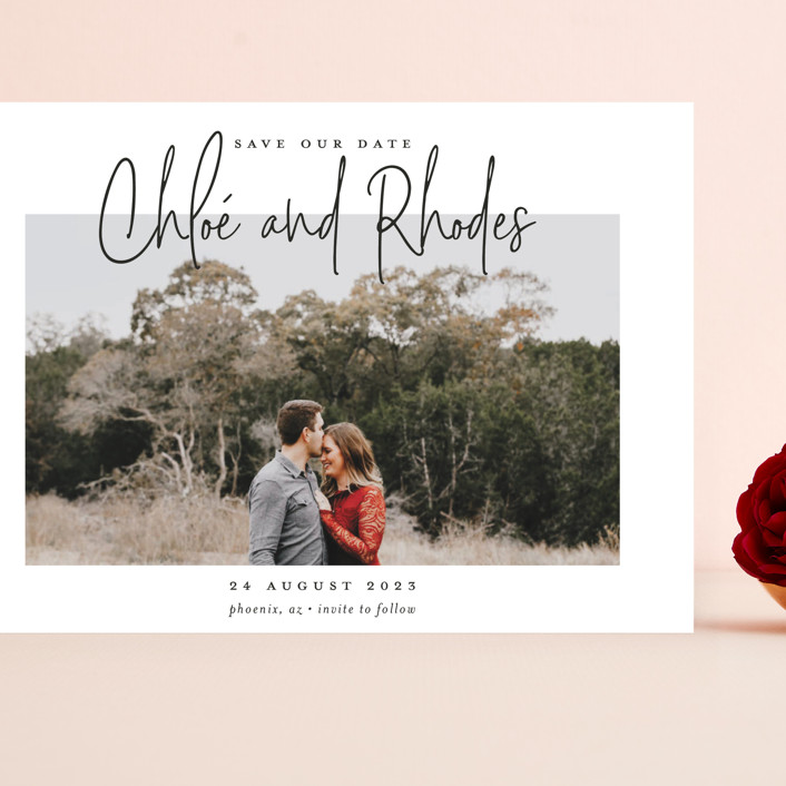 """""""Signature names"""" - Grand Save The Date Cards in Pencil by Stacey Meacham."""