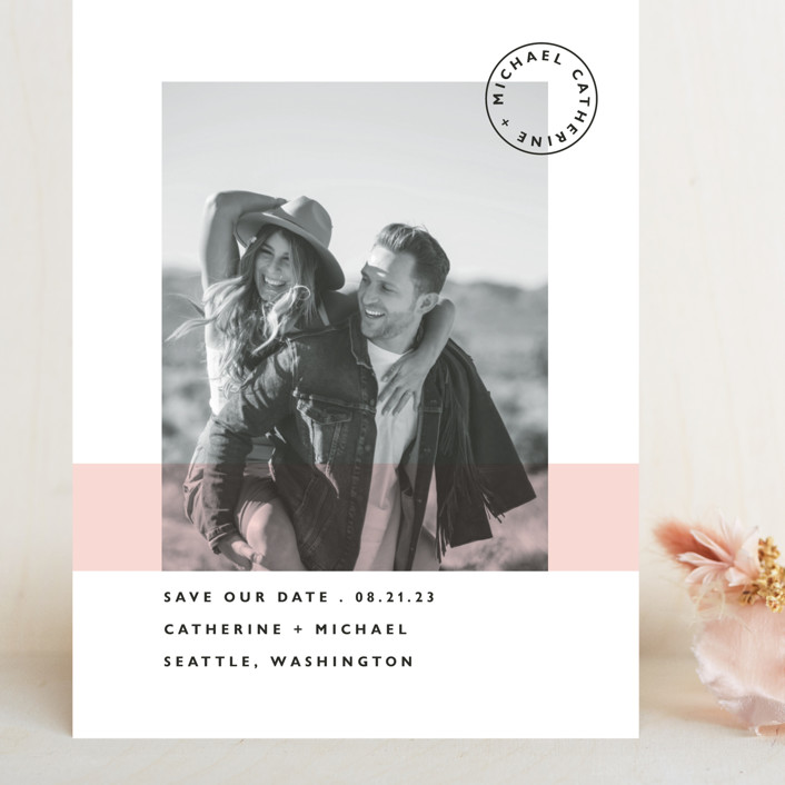 """Sealed with a Kiss"" - Grand Save The Date Cards in Blush by Hudson Meet Rose."