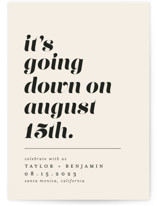 This is a beige save the date by Erica Krystek called Party Down with standard printing on signature in grand.