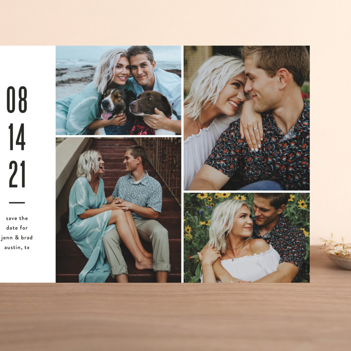 """""""Modern Grid"""" - Grand Save The Date Cards in fog by Jessica Ogden."""