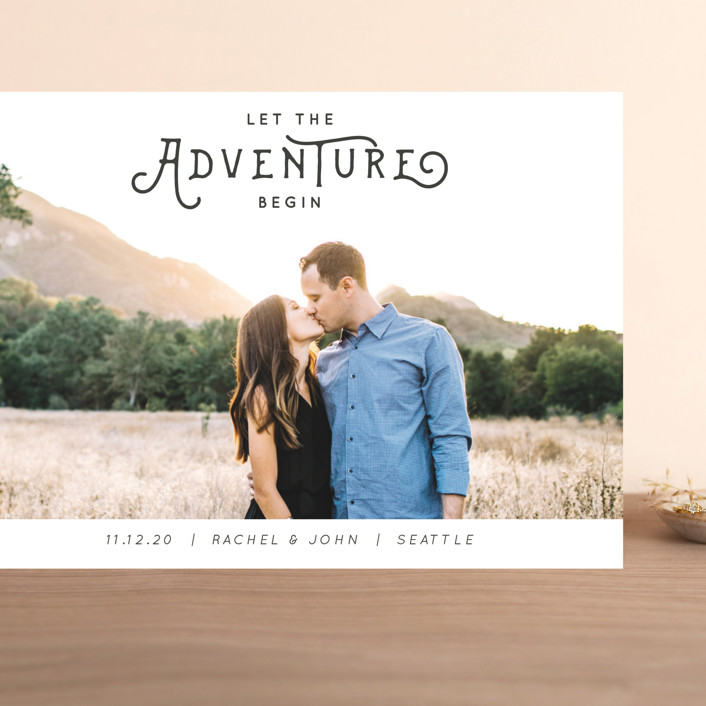 """""""The Adventure"""" - Simple Grand Save The Date Cards in Slate by Kasia Labocki."""