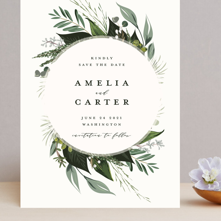 """""""Natures Greens"""" - Grand Save The Date Cards in Ivory by Susan Moyal."""