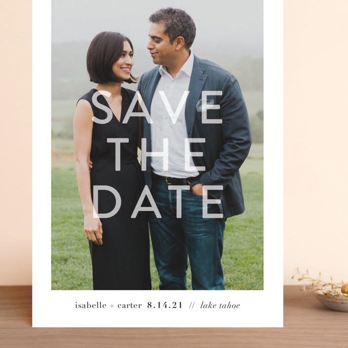"""""""You + Me"""" - Grand Save The Date Cards in Snow by Robin Ott."""