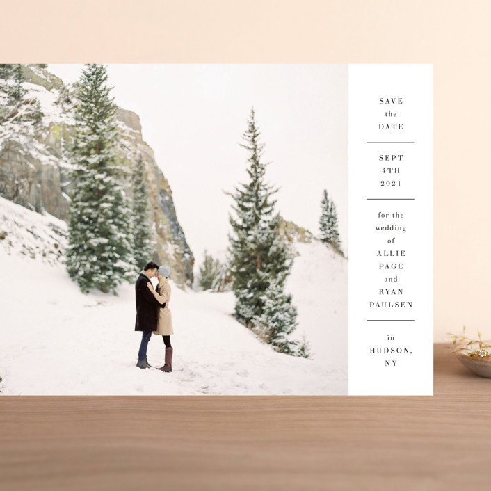 """Hudson"" - Grand Save The Date Cards in Snow by Toast & Laurel."