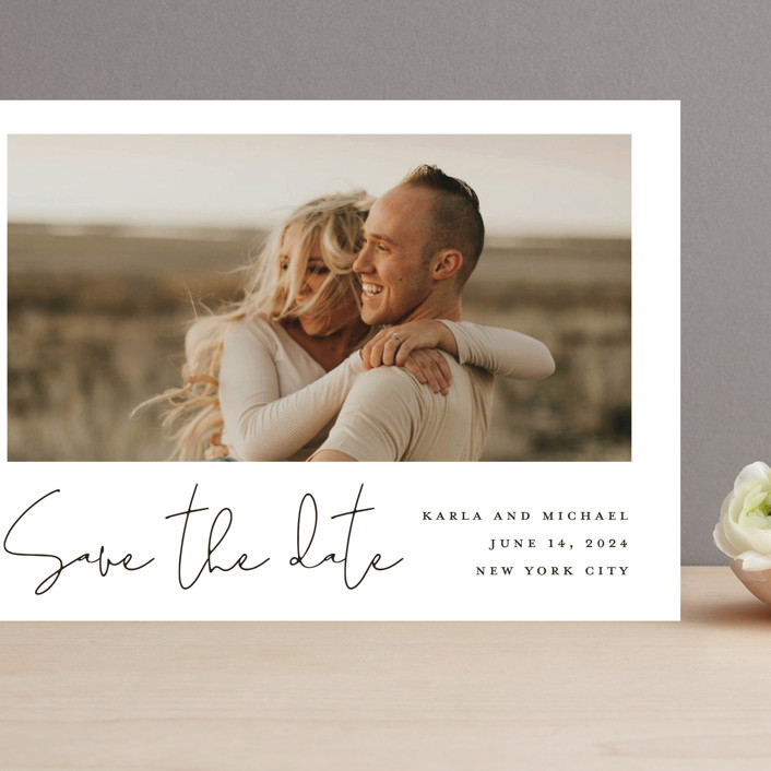 """Scripted Style"" - Grand Save The Date Cards in Cloud by Katherine Moynagh."