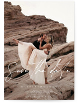 This is a white save the date by Brittany Braithwaite called Celebrate with standard printing on smooth signature in grand.