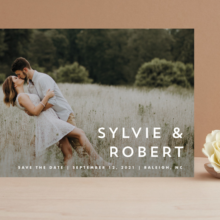 """""""Modern offset"""" - Grand Save The Date Cards in Cream by Stacey Meacham."""