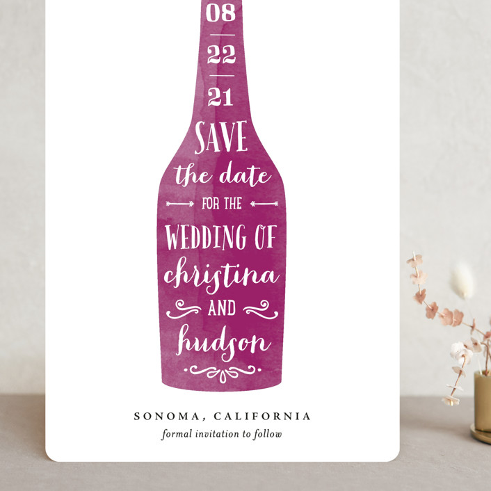"""Winery"" - Grand Save The Date Cards in Merlot by Chryssi Tsoupanarias."