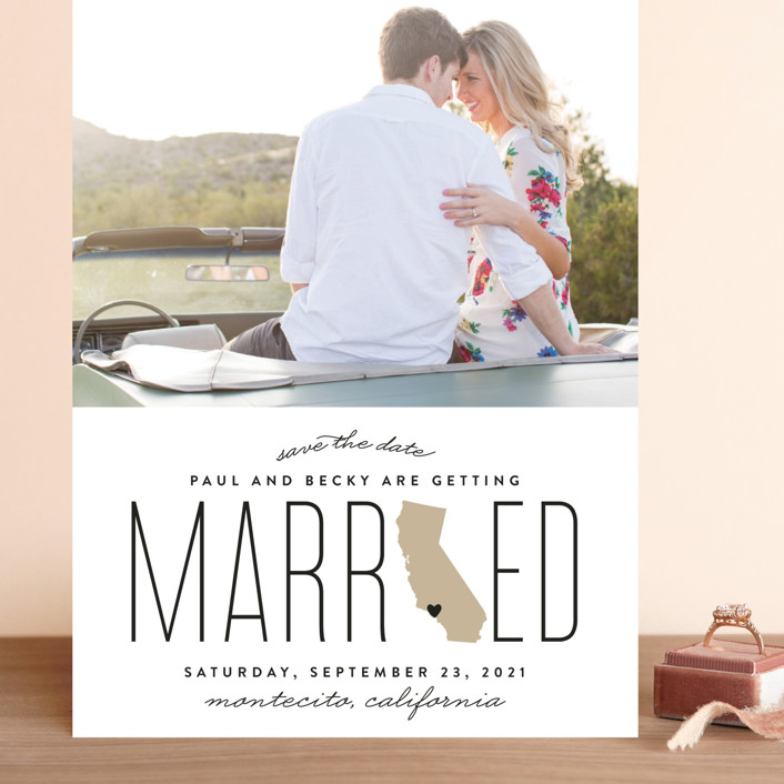 """Married in California"" - Grand Save The Date Cards in Golden by Erica Krystek."