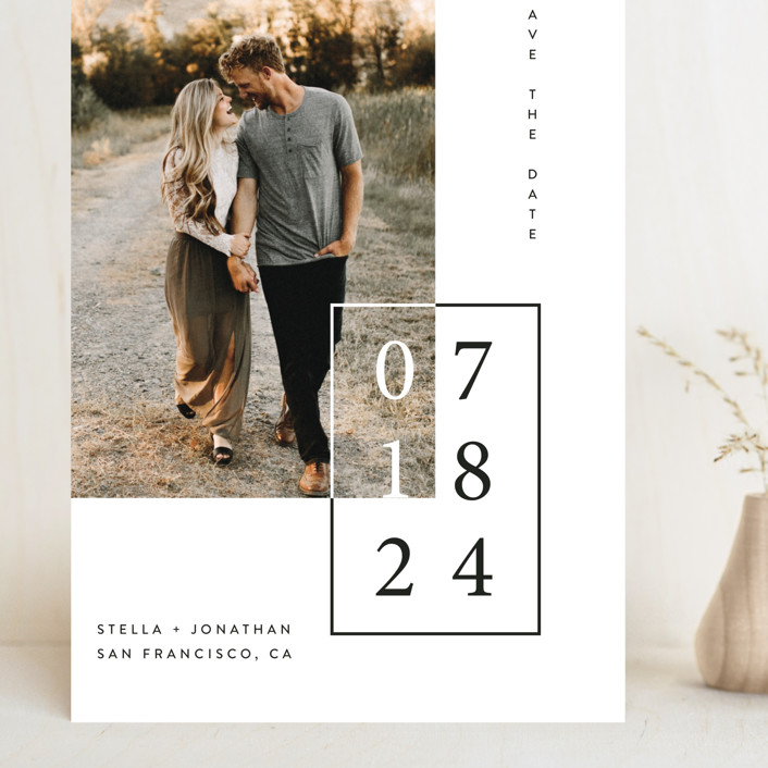 """Folio"" - Grand Save The Date Cards in Noir by lulu and isabelle."