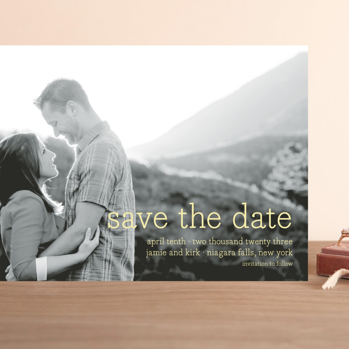"""""""Simply in Love"""" - Modern Grand Save The Date Cards in Pineapple by annie clark."""