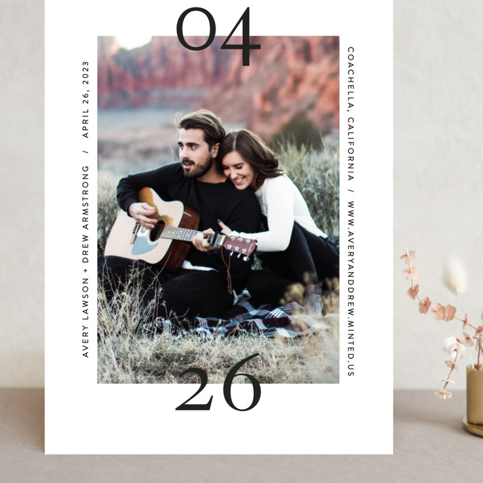 """""""Bold Date"""" - Modern Grand Save The Date Cards in Charcoal by Fig and Cotton."""