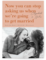This is a orange save the date by Corinne Malesic called Love and Laughs with standard printing on smooth signature in grand.