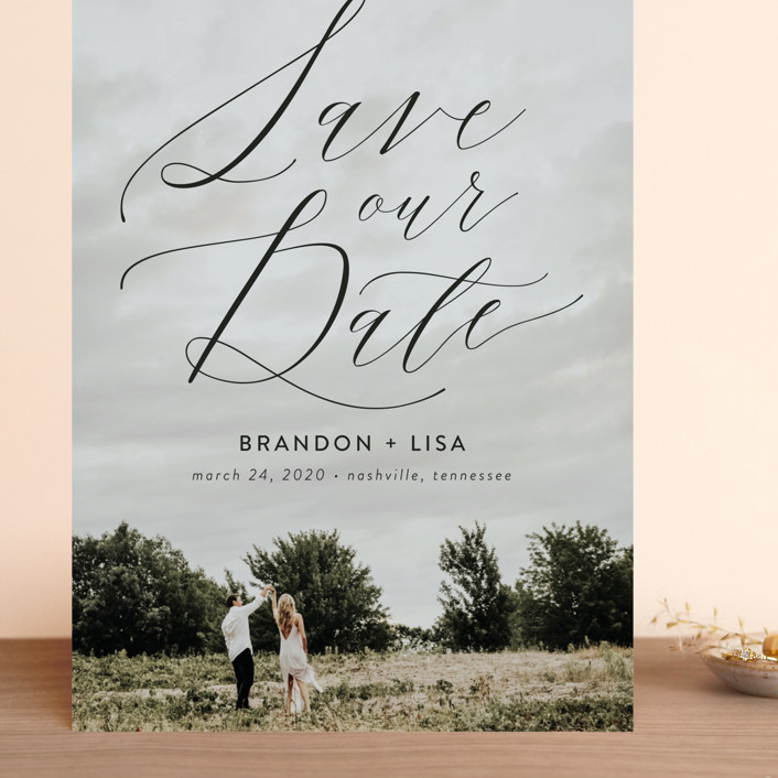 """Flowing Love"" - Grand Save The Date Cards in Jet Black by Erika Firm."