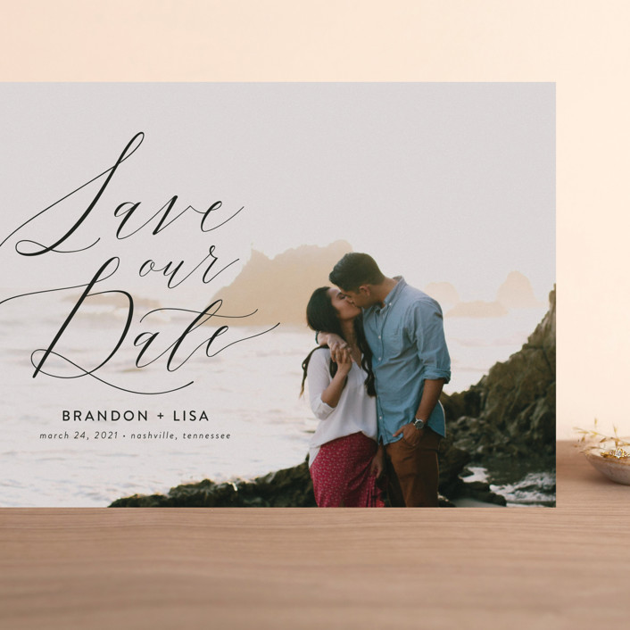 """""""Flowing Love"""" - Grand Save The Date Cards in Jet Black by Erika Firm."""