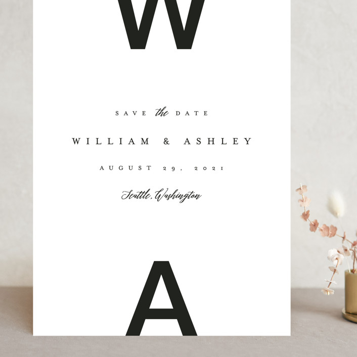 """""""Initially Bold"""" - Grand Save The Date Cards in Black Tie by Karidy Walker."""